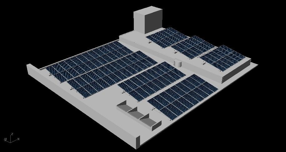 simulación proyección de sombras sobre Planta Solar Fotovoltaica2